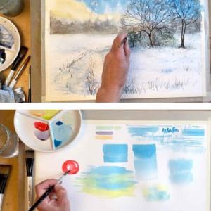 Winter watercolour painting bundle